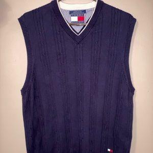 Tommy Hilfiger men's cable Vneck vest 100% cotton